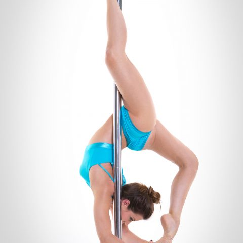 Top per pole dance azzurro